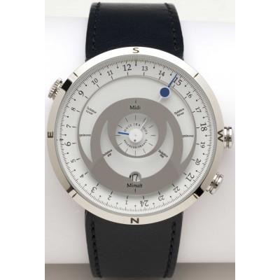 montre bracelet 24h boussole acier poli cadran blanc cuir bleu marine louis jeansol. Black Bedroom Furniture Sets. Home Design Ideas
