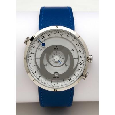 montre bracelet 24h boussole acier poli cadran blanc cuir bleu royal louis jeansol. Black Bedroom Furniture Sets. Home Design Ideas