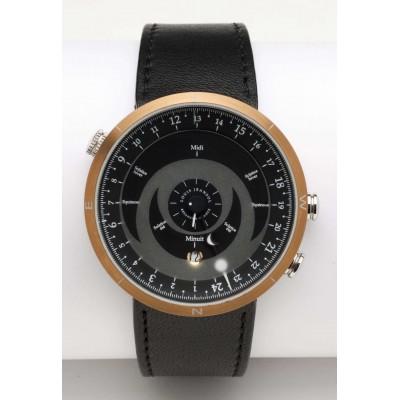 montre bracelet 24h boussole nitrure de titane bronze cadran noir cuir noir louis jeansol. Black Bedroom Furniture Sets. Home Design Ideas